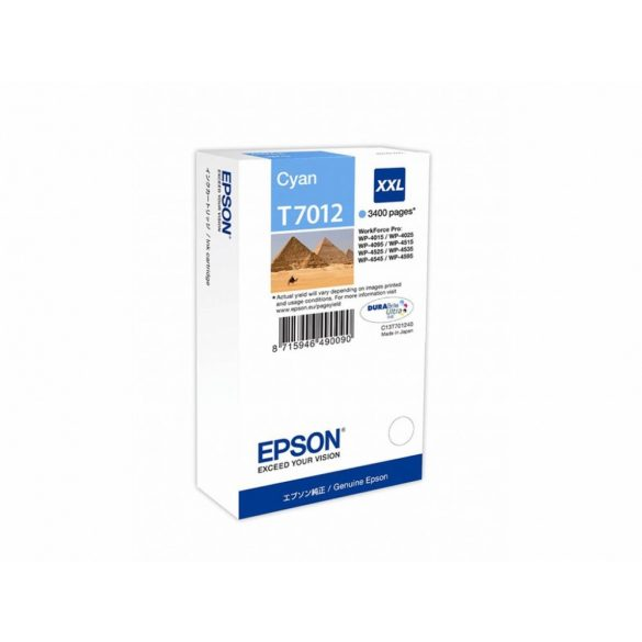 EPSON gyári (T7012) Cyan XXL patron 3400 pages C13T70124010