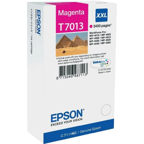 EPSON gyári (T7013) Magenta XXL patron 3400 pages C13T70134010