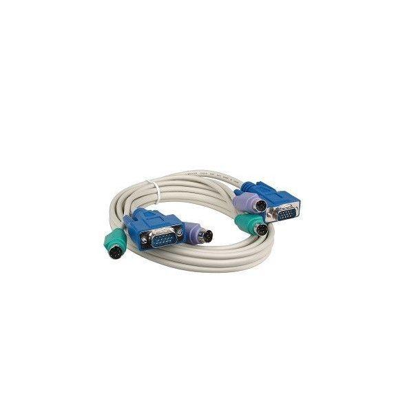 HQ VGA, PS/2 Egér, PS/2 Billentyűzet KVM-SWITCH kábel 10m CABLE-280/10