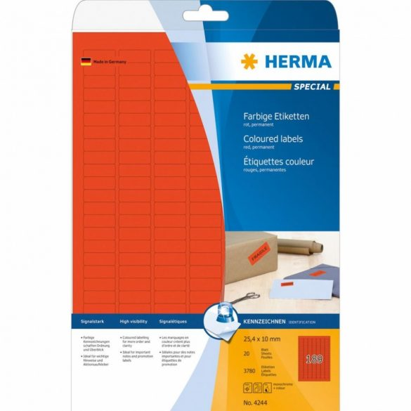 HERMA 4244 Piros etikett 25,4x10,0mm 25 ív - 3780 db/doboz