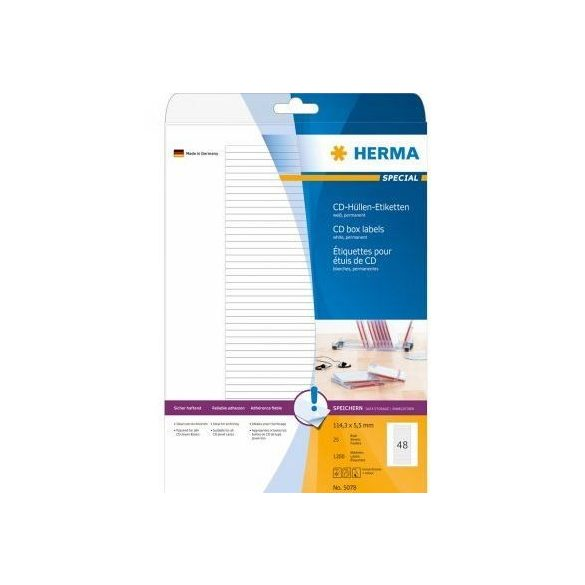 HERMA 5078 Fehér etikett 114,3x5,5mm 25ív - 1200 db/doboz