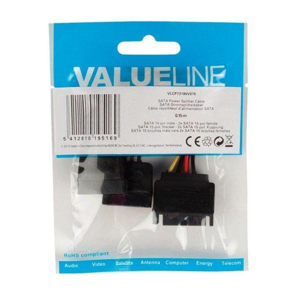 VALUELINE SATA tápfeszültség Y kábel SATA 15 érintkezős dugasz – 2x SATA 15 érintkezős aljzat 0,15 m