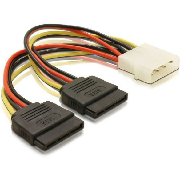 VALUELINE MOLEX-> 2x SATA tápkábel 0.15m VLCP73520V015