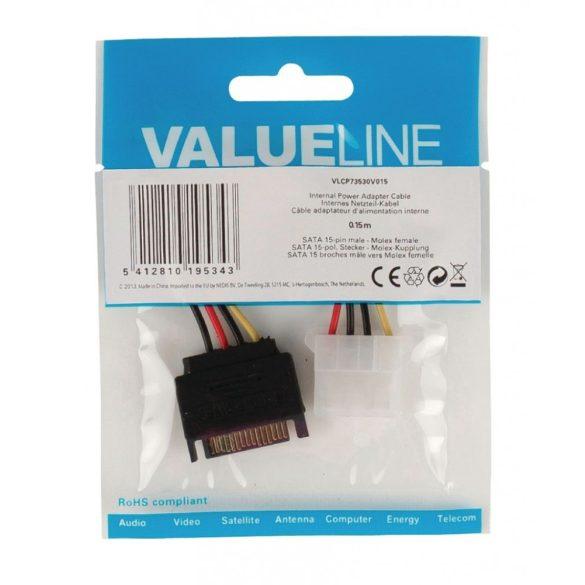 VALUELINE SATA -> MOLEX tápkábel 0.15m VLCP73530V015